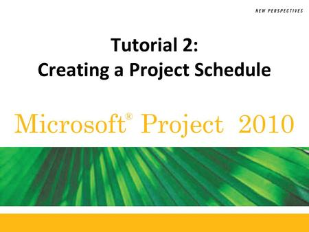 Tutorial 2: Creating a Project Schedule