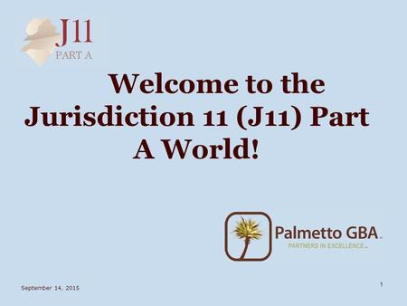 September 14, 2015 1 Welcome to the Jurisdiction 11 (J11) Part A World!