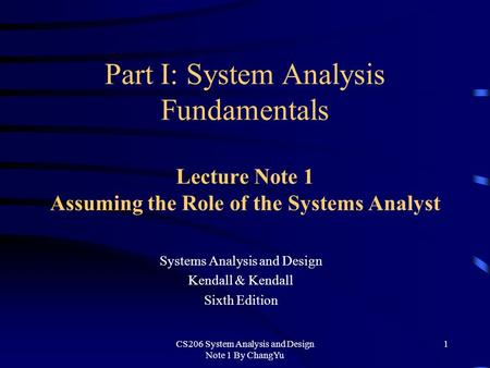 Systems Analysis and Design Kendall & Kendall Sixth Edition