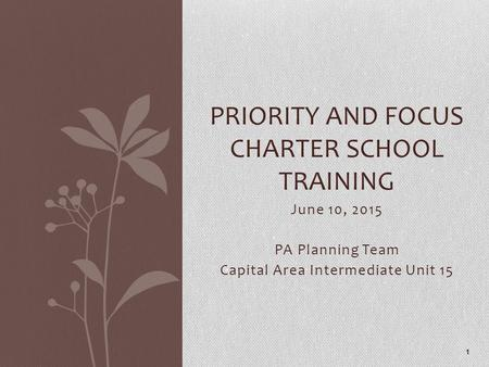 June 10, 2015 PA Planning Team Capital Area Intermediate Unit 15 PRIORITY AND FOCUS CHARTER SCHOOL TRAINING 1.
