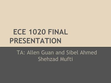 ECE 1020 FINAL PRESENTATION TA: Allen Guan and Sibel Ahmed Shehzad Mufti.
