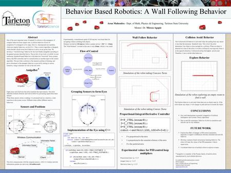 Behavior Based Robotics: A Wall Following Behavior Arun Mahendra - Dept. of Math, Physics & Engineering, Tarleton State University Mentor: Dr. Mircea Agapie.