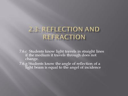 7.6.c Students know light travels in straight lines if the medium it travels through does not change. 7.6.g Students know the angle of reflection of a.