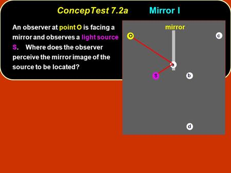 ConcepTest 7.2a	Mirror I An observer at point O is facing a mirror and observes a light source S. Where does the observer perceive the mirror image.