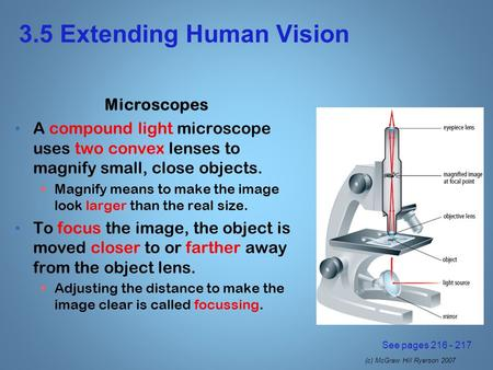 (c) McGraw Hill Ryerson 2007 3.5 Extending Human Vision Microscopes A compound light microscope uses two convex lenses to magnify small, close objects.