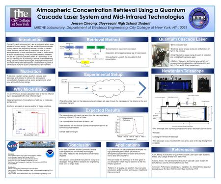 Atmospheric Concentration Retrieval Using a Quantum Cascade Laser System and Mid-Infrared Technologies Jensen Cheong, Stuyvesant High School Student MIRTHE.