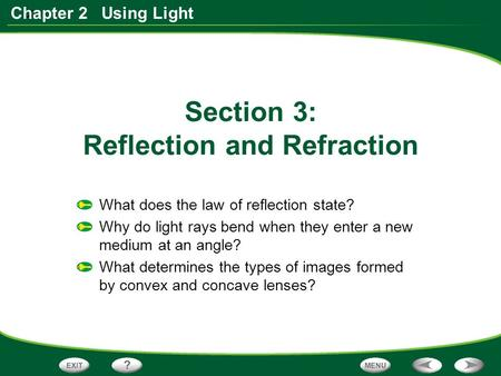 Section 3: Reflection and Refraction