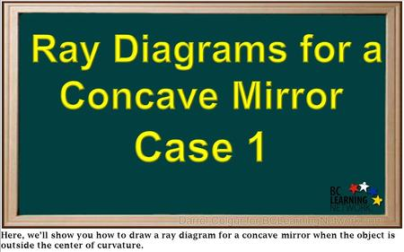 Here, we'll show you how to draw a ray diagram for a concave mirror when the object is outside the center of curvature.