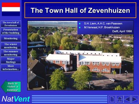 The Town Hall of Zevenhuizen S.H. Liem, A.H.C. van Paassen M.Verwaal, H.F. Broekhuizen Delft, April 1998 Presentation of the building Presentation of the.