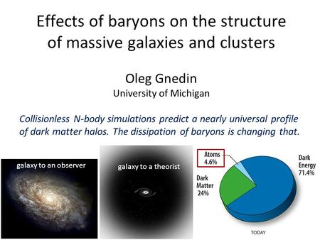 Effects of baryons on the structure of massive galaxies and clusters Oleg Gnedin University of Michigan Collisionless N-body simulations predict a nearly.