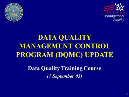 1 DATA QUALITY MANAGEMENT CONTROL PROGRAM (DQMC) UPDATE Data Quality Training Course (7 September 05)