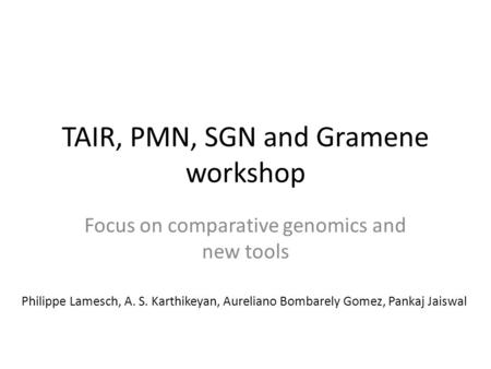 TAIR, PMN, SGN and Gramene workshop Focus on comparative genomics and new tools Philippe Lamesch, A. S. Karthikeyan, Aureliano Bombarely Gomez, Pankaj.