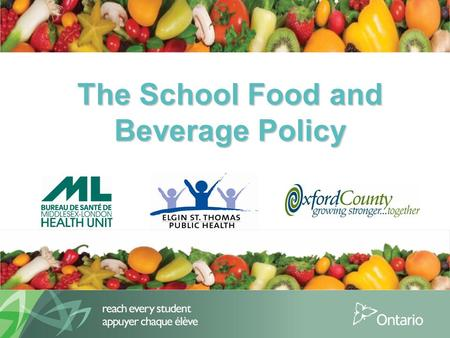 The School Food and Beverage Policy. 2 Purpose Provide an Overview of:  The School Food and Beverage Policy (PPM 150) Review:  Why was the policy created?