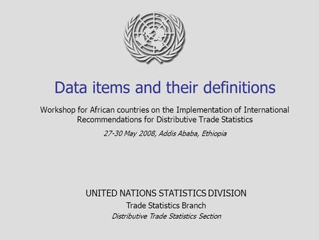 Data items and their definitions Workshop for African countries on the Implementation of International Recommendations for Distributive Trade Statistics.