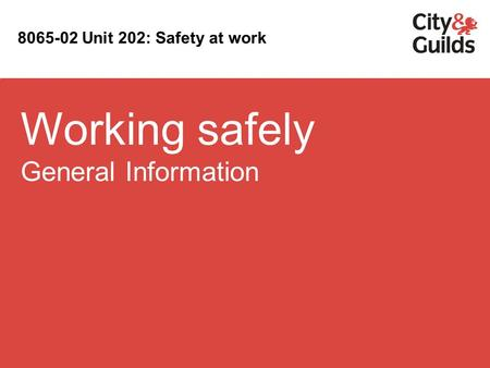 Working safely General Information 8065-02 Unit 202: Safety at work.