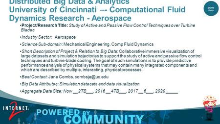 1 Distributed Big Data & Analytics University of Cincinnati –- Computational Fluid Dynamics Research - Aerospace Project/Research Title: Study of Active.