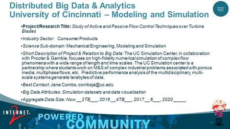 1 Distributed Big Data & Analytics University of Cincinnati – Modeling and Simulation Project/Research Title: Study of Active and Passive Flow Control.