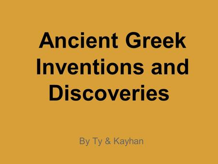 Ancient Greek Inventions and Discoveries