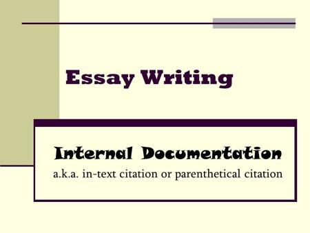 Essay Writing Internal Documentation a.k.a. in-text citation or parenthetical citation.