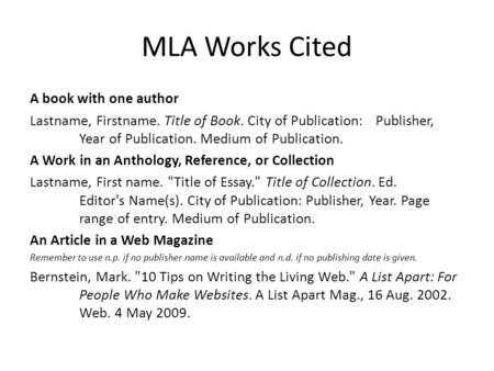 Mla formatting for works cited