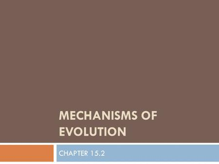 MECHANISMS OF EVOLUTION CHAPTER 15.2. I. POPULATION GENETICS AND EVOLUTION  A. Populations, Not Individuals Evolve  Evolution occurs as a populations.