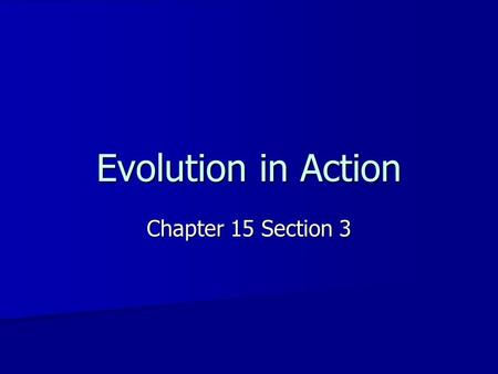 Evolution in Action Chapter 15 Section 3. Convergent Evolution Different species become more similar. Different species become more similar. –Example.