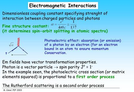 M. Cobal, PIF 2003 Electromagnetic Interactions Dimensionless coupling constant specifying strenght of interaction between charged particles and photons.