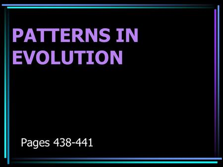 PATTERNS IN EVOLUTION Pages 438-441. Patterns in Evolution 1.Divergent evolution (aka-adaptive radiation) 2.Convergent 3.Coevolution.