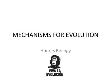 MECHANISMS FOR EVOLUTION Honors Biology. REVIEW Evidence for Evolution and Examples What is Natural Selection? How did Darwin develop theory of Natural.