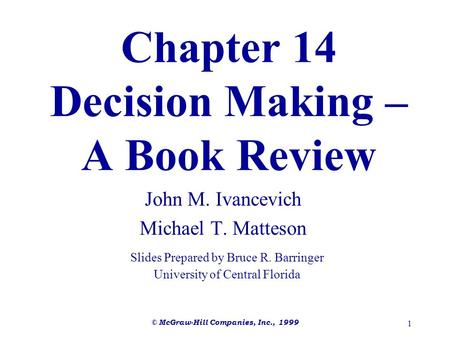 Chapter 14 Decision Making – A Book Review