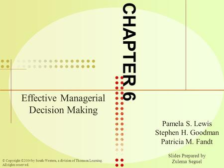 Effective Managerial Decision Making