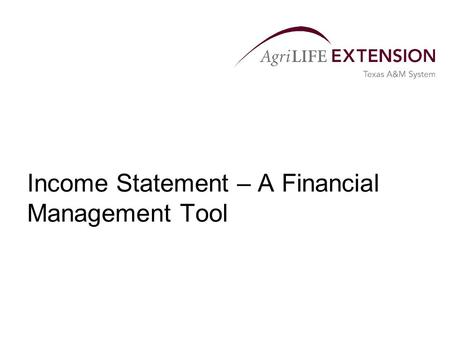 Income Statement – A Financial Management Tool. What is an Income Statement?  A financial statement that measures the profit or loss of a business for.
