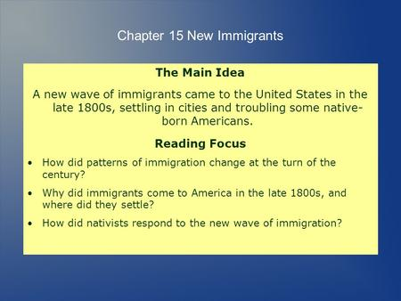 Chapter 15 New Immigrants The Main Idea A new wave of immigrants came to the United States in the late 1800s, settling in cities and troubling some native-