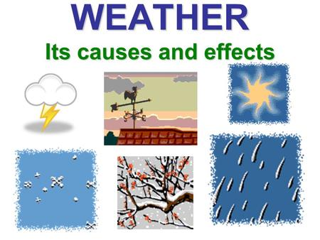 WEATHER Its causes and effects. Investigation 1- What is Weather? Enduring Understanding: Weather is a condition of Earth's atmosphere at a given time.