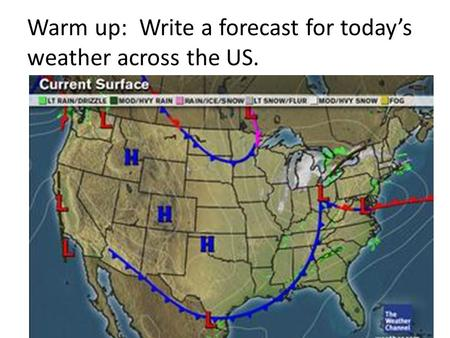Warm up: Write a forecast for today's weather across the US.