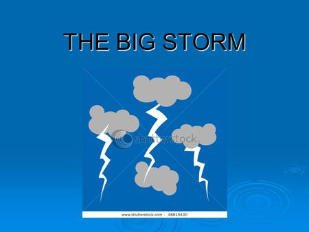 THE BIG STORM. THEME AND TOPICS  Theme: The weather  Topics: weather forecasting season changes season changes.