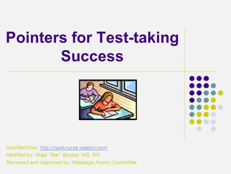 Pointers for Test-taking Success