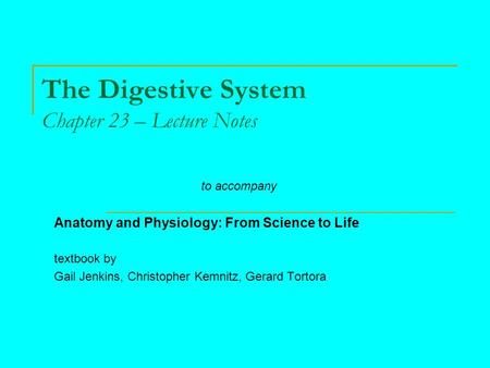 The Digestive System Chapter 23 – Lecture Notes