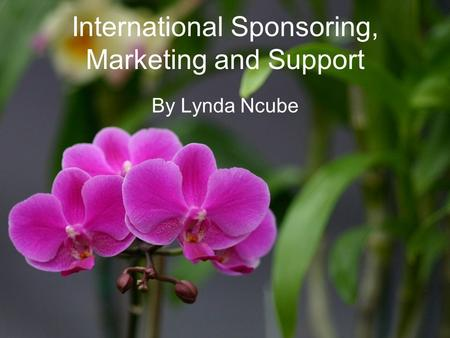 International Sponsoring, Marketing and Support By Lynda Ncube.