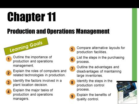 Chapter 11 Production and Operations Management Learning Goals