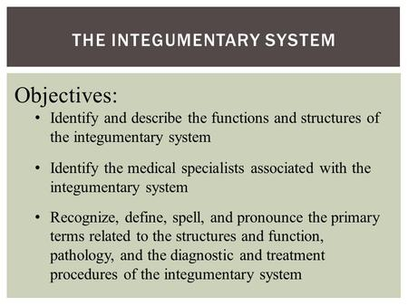 THE INTEGUMENTARY SYSTEM Objectives: Identify and describe the functions and structures of the integumentary system Identify the medical specialists associated.