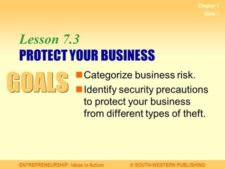 ENTREPRENEURSHIP: Ideas in Action© SOUTH-WESTERN PUBLISHING Chapter 7 Slide 1 Lesson 7.3 PROTECT YOUR BUSINESS Categorize business risk. Identify security.