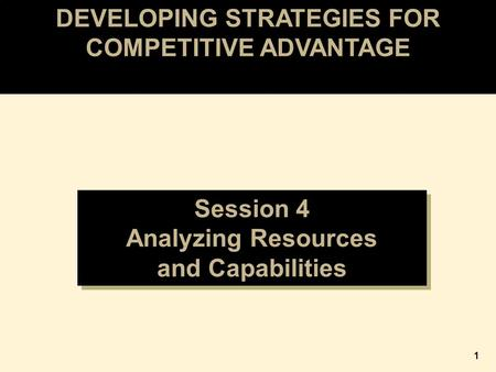 DEVELOPING STRATEGIES FOR COMPETITIVE ADVANTAGE Session 4 Analyzing Resources and Capabilities Session 4 Analyzing Resources and Capabilities 1.