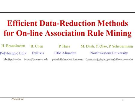 NGDM'02 1 Efficient Data-Reduction Methods for On-line Association Rule Mining H. Bronnimann B. ChenM. Dash, Y. Qiao, P. ScheuermannP. Haas Polytechnic.