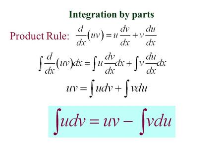 Integration by parts Product Rule:. Integration by parts Let dv be the most complicated part of the original integrand that fits a basic integration Rule.