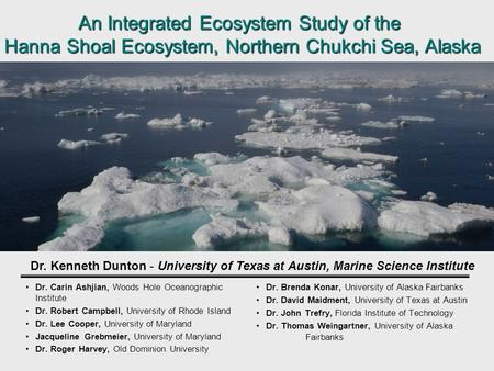 An Integrated Ecosystem Study of the