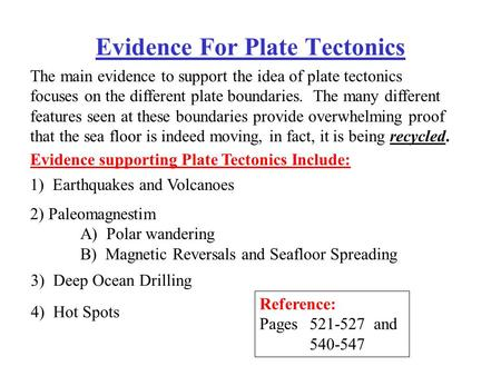 Evidence For Plate Tectonics The main evidence to support the idea of plate tectonics focuses on the different plate boundaries. The many different features.