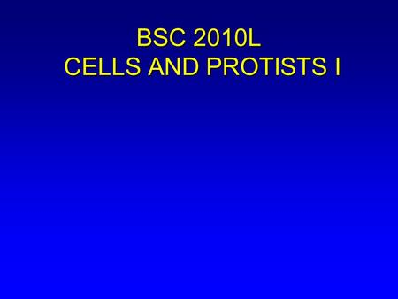 BSC 2010L CELLS AND PROTISTS I. In this lab we will: A. Review cell structure and function (Chapter 2). B. Begin examining diversity of life with some.