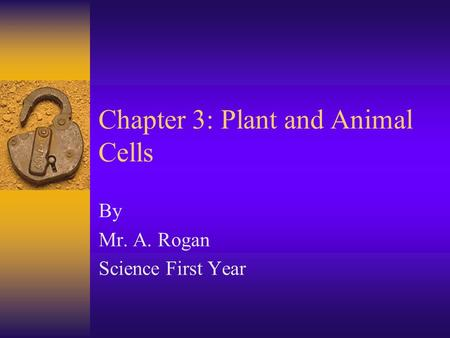 Chapter 3: <strong>Plant</strong> and Animal Cells By Mr. A. Rogan Science First Year.