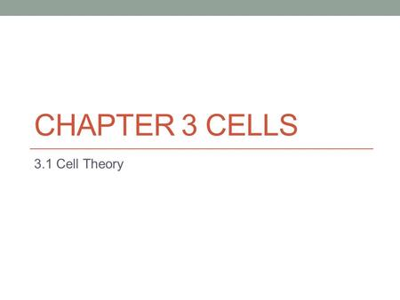 CHAPTER 3 CELLS 3.1 Cell Theory. KEY CONCEPT Cells are the Basic unit of life.